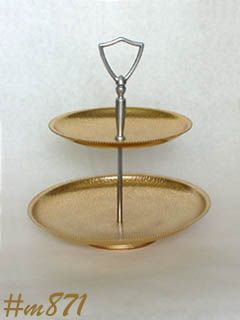 ALUMINUM WARE -- 2 TIER TID BIT TRAY (GOLD COLOR)