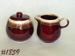 McCOY POTTERY -- BROWN DRIP CREAMER AND SUGAR WITH LID