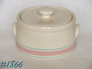 McCOY POTTERY -- STONECRAFT PINK AND BLUE CASSEROLE