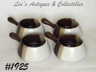 McCOY POTTERY -- SANDSTONE INDIVIDUAL CASSEROLES (4)