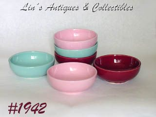 McCOY POTTERY -- SIX  CEREAL BOWLS (ASSORTED COLORS)