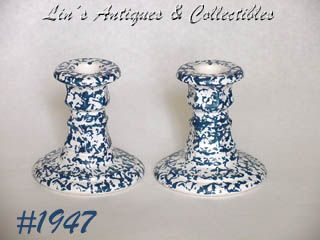 McCOY POTTERY -- BLUE COUNTRY CANDLEHOLDERS (2)