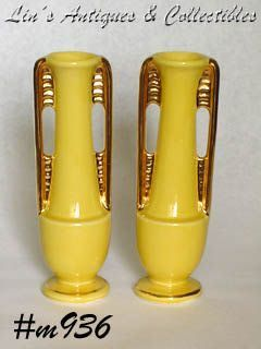 SHAWNEE POTTERY -- 2 BUD VASES (YELLOW WITH GOLD TRIM)