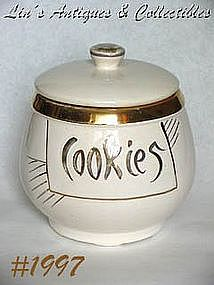 McCOY POTTERY -- WHITE WITH GOLD COOKIE JAR