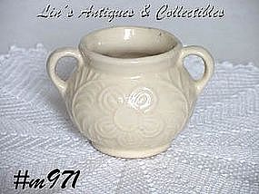 SHAWNEE POTTERY -- FLOWER AND FERN SUGAR BOWL (WHITE)