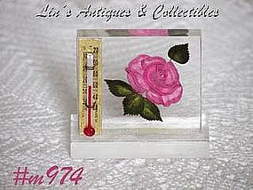 CLEAR LUCITE WITH PINK ROSE THERMOMETER