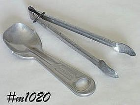 ALUMINUMWARE -- VINTAGE ALUMINUM MARATHON SPOON AND ICE TONGS