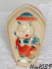 VINTAGE CELLULOID BABY RATTLE / TOY