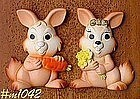 SET OF TWO BUNNY CHALKWARE PLAQUES (MILLER STUDIOS)