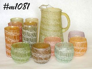 GLASSWARE -- PITCHER WITH 6 TUMBLERS AND 6 JUICES