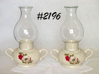 McCOY POTTERY -- RED ROSES FLORAL CANDLE LAMPS (2)