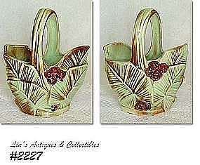 McCOY POTTERY -- LEAVES WITH BERRIES BASKET VASE