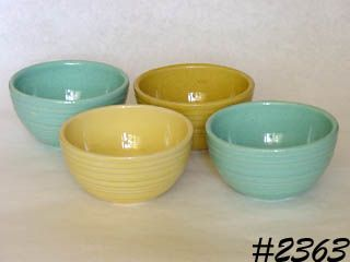 McCOY POTTERY -- SET OF 4 SMALL BOWLS (RINGS PATTERN)
