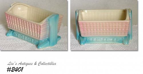 McCOY POTTERY -- FLORALINE BABY CRADLE PLANTER