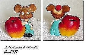 VINTAGE TOPO GIGIO BOBBLE HEAD ROSSINI MOUSE BANK