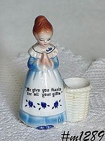 ENESCO -- PRAYER LADY TOOTHPICK HOLDER (BLUE DRESS)