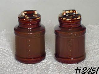 McCOY POTTERY -- MILK CAN SALT AND PEPPER (BROWN DRIP)