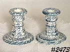 McCOY POTTERY -- PAIR OF CANDLEHOLDERS (BLUE COUNTRY)