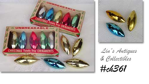 "TWENTY VINTAGE ""TWINKLE DROP THE UNBREAKABLE KIND"" ORNAMENTS"