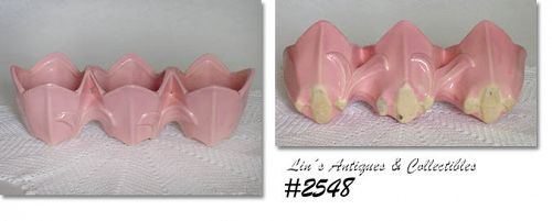 McCOY POTTERY -- TRIPLE TULIP PLANTER (PINK)
