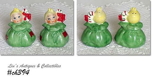 LITTLE CHRISTMAS GIRL DOLLS VINTAGE SALT AND PEPPER SHAKER SET
