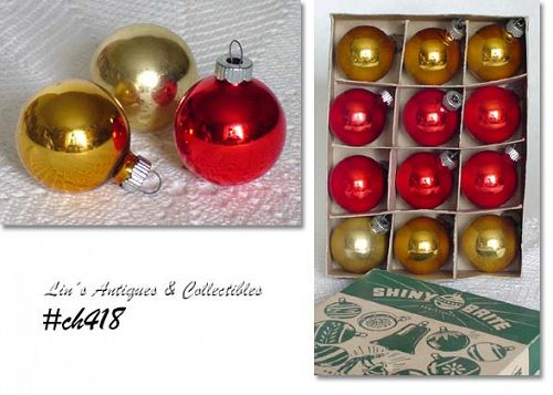 1 DOZEN SHINY BRITE ORNAMENTS WITH ORIGINAL BOX