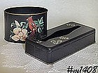 METAL TISSUE HOLDER (BLACK WITH FLOWERS)
