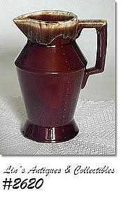 "McCOY POTTERY -- BROWN DRIP PITCHER (8"")"
