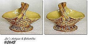 McCOY POTTERY -- BASKET PLANTER (YELLOW AND TAN)