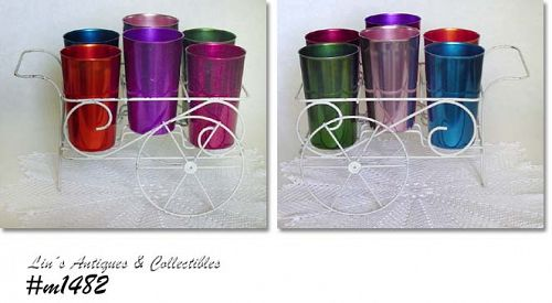 ALUMINUMWARE -- SET OF 6 VINTAGE BASCAL TUMBLERS IN WIRE CART RACK!