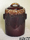 McCOY POTTERY -- BROWN DRIP COOKIE JAR (CYLINDER SHAPE)
