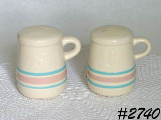 McCOY POTTERY -- PINK AND BLUE SALT AND PEPPER SHAKERS