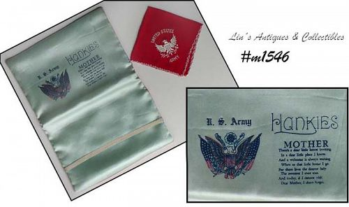 VINTAGE ARMY HANKY HOLDER SOUVENIR AND VINTAGE SOUVENIR ARMY HANKY