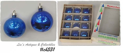 1 DOZEN POLAND VINTAGE BLUE GLASS CHRISTMAS ORNAMENTS