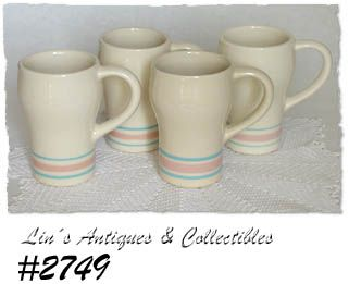 McCOY POTTERY -- PINK AND BLUE TALL MUGS (4)