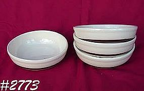 McCOY POTTERY -- BROWN STRIPE CEREAL BOWLS (4)