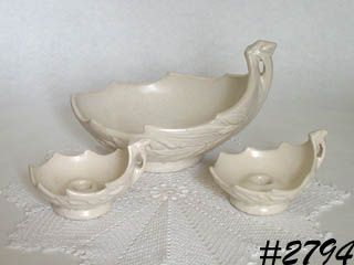McCOY POTTERY -- FLOWER BOWL AND CANDLEHOLDERS