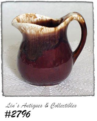 McCOY POTTERY -- BROWN DRIP PITCHER (SMALL SIZE)