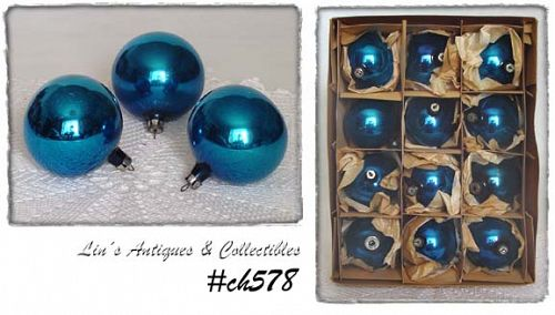 1 DOZEN POLAND VINTAGE BLUE GLASS CHRISTMAS ORNAMENTS