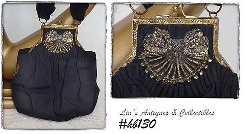 VINTAGE BLACK CLOTH HANDBAG