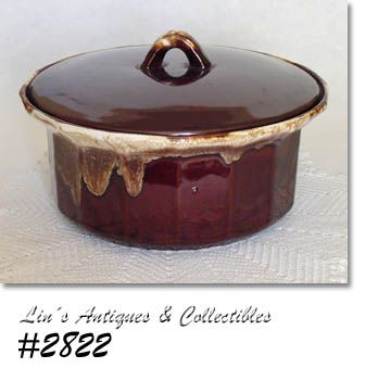 McCOY POTTERY -- BROWN DRIP COVERED CASSEROLE