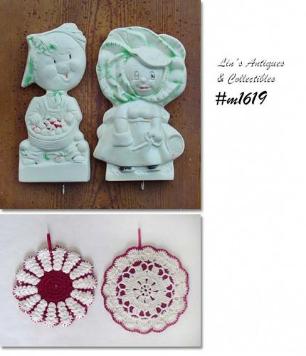 CHALKWARE -- ANTHROPOMORPHIC FRUIT PAIR WALL PLAQUES