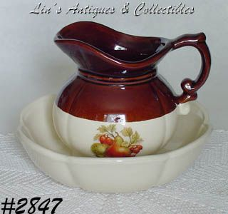 McCOY POTTERY -- FRUIT FESTIVAL PITCHER AND BOWL