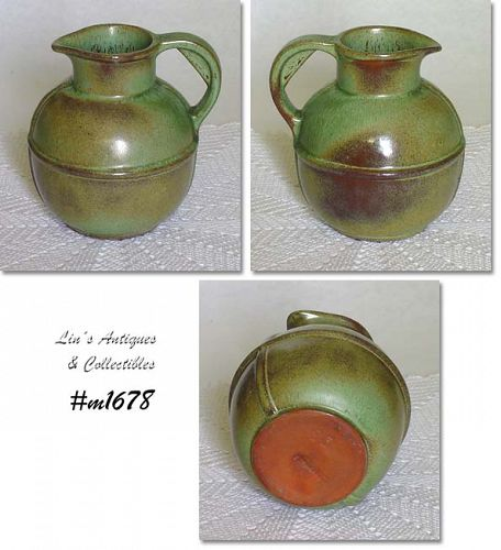 FRANKOMA POTTERY -- SMALL PITCHER (PRAIRIE GREEN)