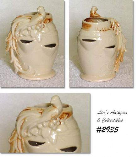McCOY POTTERY -- STRAWBERRY JAR WITH BIRD