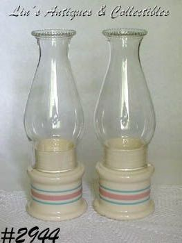 McCOY POTTERY -- PINK AND BLUE CANDLE LAMPS (2)