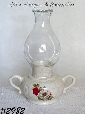 McCOY POTTERY -- RED AND WHITE FLOWERS CANDLE LAMP