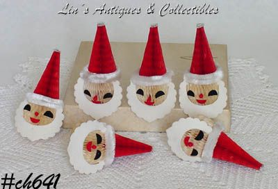 "VINTAGE ""HONEY COMB"" TISSUE SANTA FACES (6)"