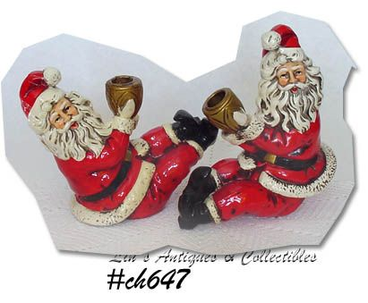 PAIR OF SANTA CANDLEHOLDERS