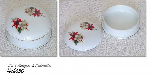 POINSETTIA DRESSER JAR OR POWDER BOX